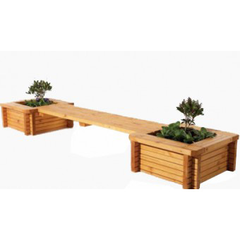 Wooden Banch With Flowerpot