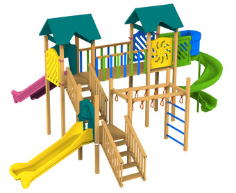 Triple Tower Wooden Playground